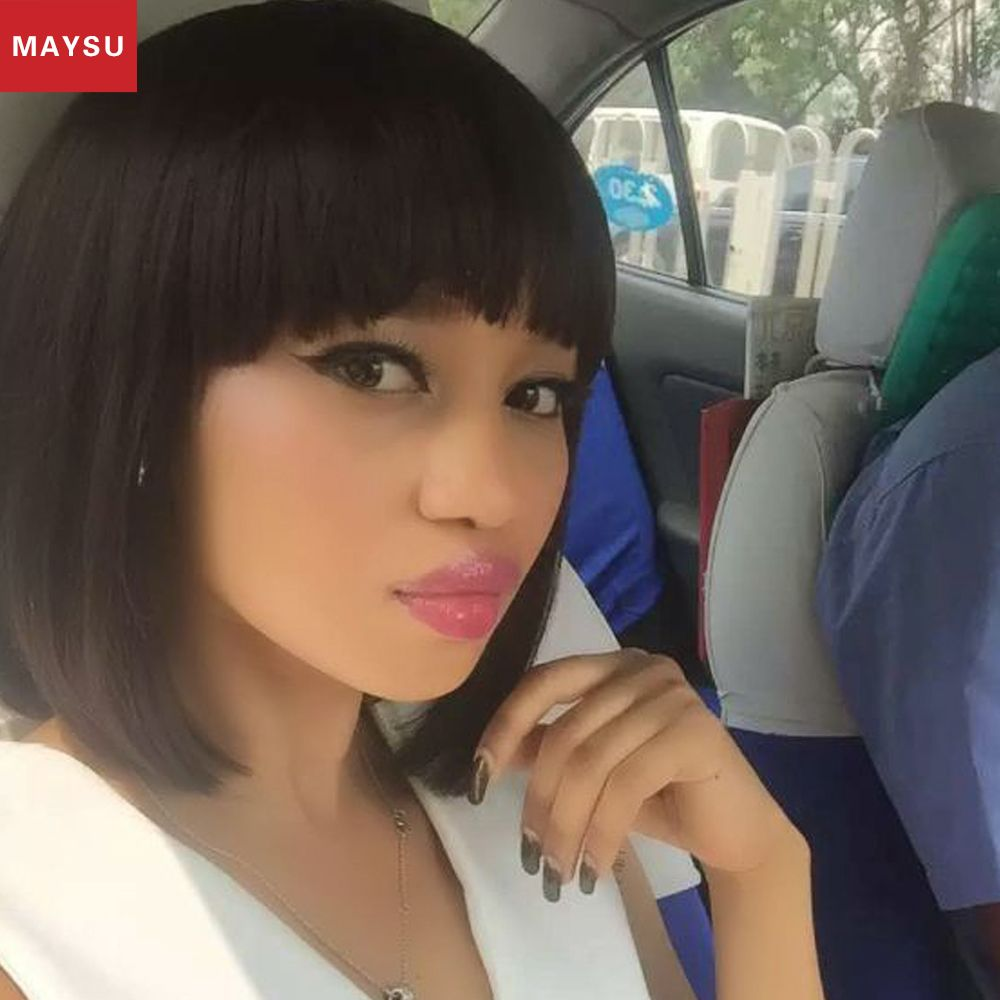 MAYSU Short Human Hair Glueless Human Hair Bob Wigs For Black Women African American Wigs Lace Human Hair Wigs With Bangs
