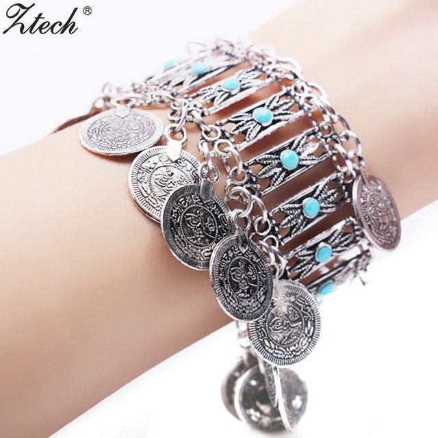 2017 New fashion Vintage Curved ethnic Cuff Bracelet bohemia Statement Coin Bangle Letter bracelet for women bangles