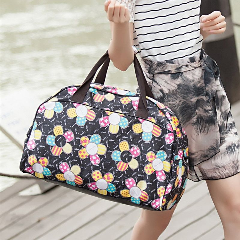 New 2018 Fashion Luggage Travel Bags Casual Printing Duffle Bag Large Capacity Quality Polyester Women Travel Bags