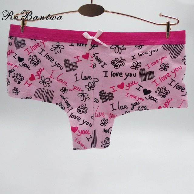 Rebantwa Boyshorts I Love You Letter Print Panties Women Cotton Underwear New Lingerie Sexy Ladies Panties Heart Underpants