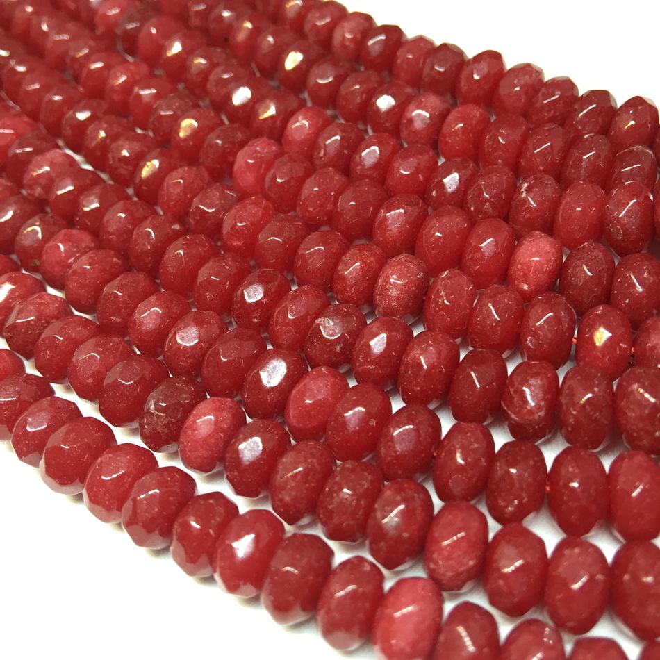 "New Red Stone chalcedony 5x8mm Faceted Rondelle Abacus Loose Beads Wholesale Price jades Women Elegant Diy Jewelry 15""MY5327"