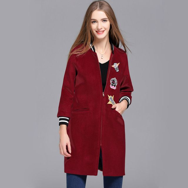 New Arrival 2016 Autumn Winter Women's Stand Collar Long Sleeves Embroidery Zipper Closure Fashion High Street Woolen Colats