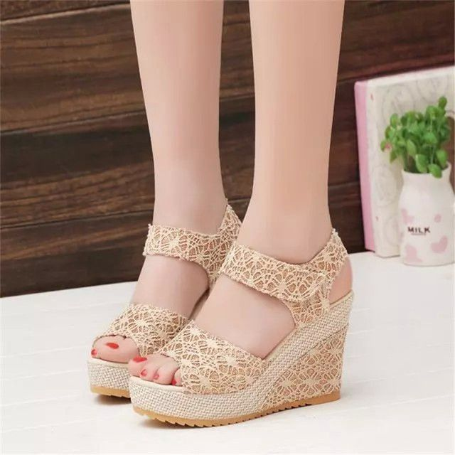 Magic Sticks High Heels Wedge Sandals With Platform Sexy Lace Breathable Sandalia Feminina Summer Beach Sandalen Shoes Women