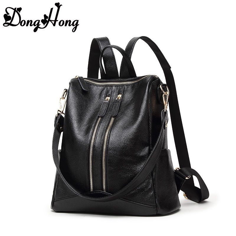 2017 Fashion Designer Cow Genuine Leather Women Backpack Drawstring School Bags For Teenagers Girls Female Travel Back Pack