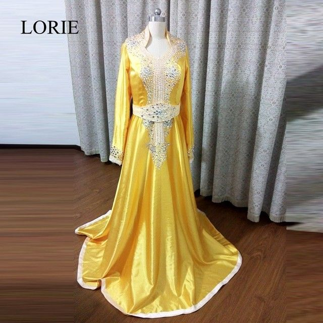 Muslim Gold Evening Dresses 2017 LORIE Beaded Formal Party Gowns Dubai Caftan Long Sleeve Prom Dresses China Custom Made