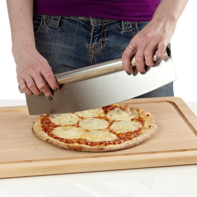12 Inch Pizza Cutter Sharp Rocker Blade Premium Stainless Steel Rocking Pizza Knife Pastry Chopper