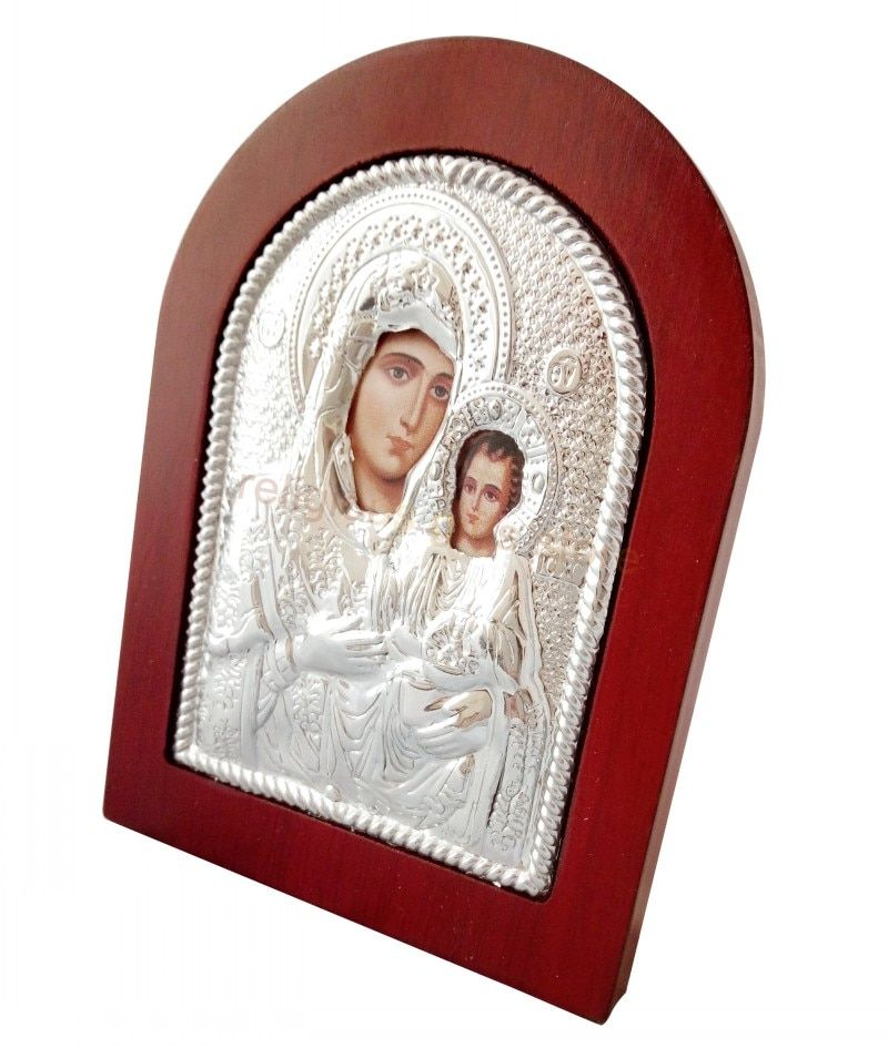 Russian icon greek orthodox photos virgin mary of Jerusalem silver icon wooden frame stand home decor byzantine art baptism gift