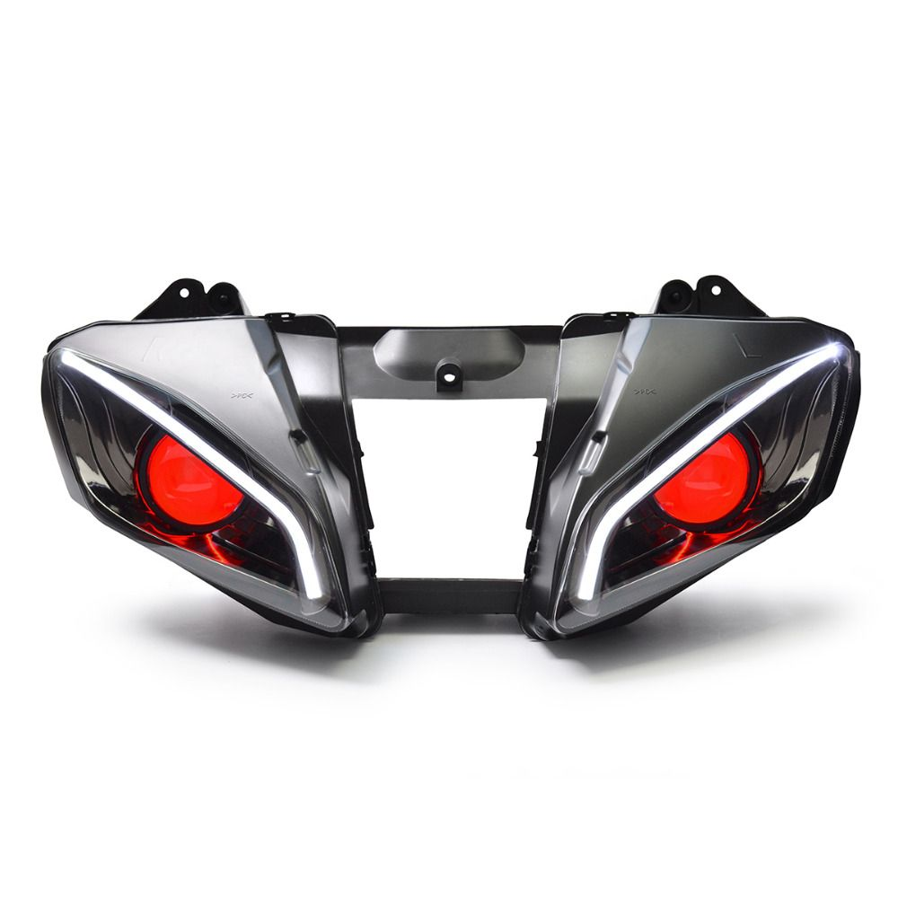 KT Headlight for Yamaha YZF R6 2006-2007 LED Optical Fiber Red Demon Eye Motorcycle HID Projector Assembly