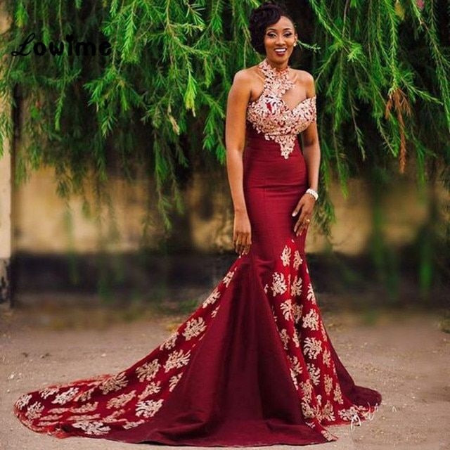 Sexy Long Burgundy African Wine Red Gold Lace Mermaid Prom Gala Dress Applique Indian Prom Dresses For Black Girls Jurken 2017