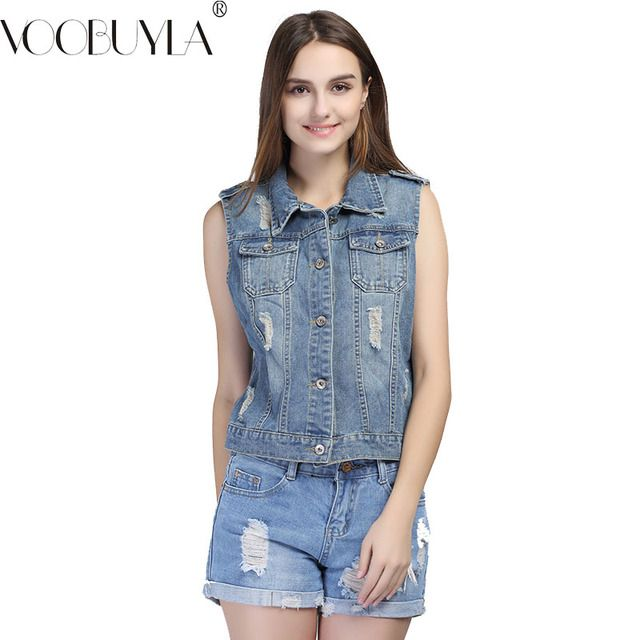 VooBuyLa Brand Plus Size 5XL 6XL Women's Sleeveless Denim Jacket 2017 New Autumn Casual Ripped Holes Oversize Tops For Women