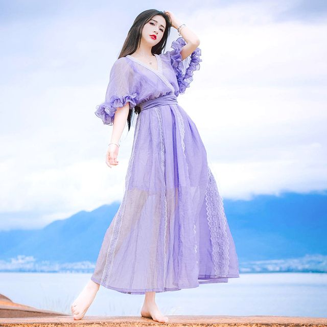 2017 Spring And Summer New Purple Color Chiffon Maxi Women's Sexy Deep V-neck Half Sleeve Vintage Dress Ladies Beach Dress