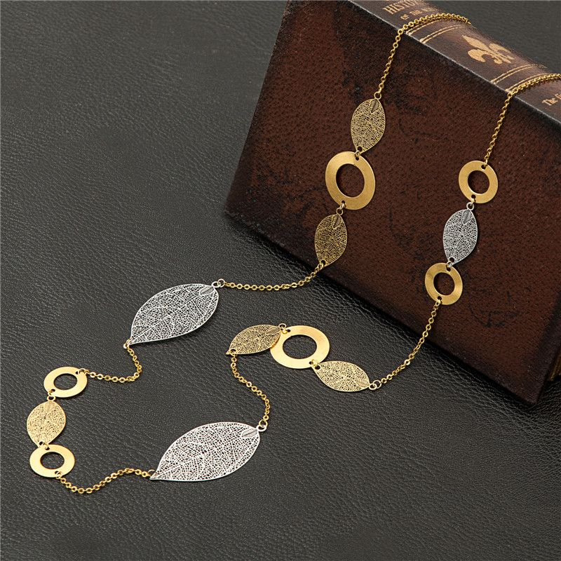 90 CM Long Necklaces Hollow Leaf FILIGREE Gold Chain Long Jewelry Vintage Hollowed-out Chain Necklaces Colar