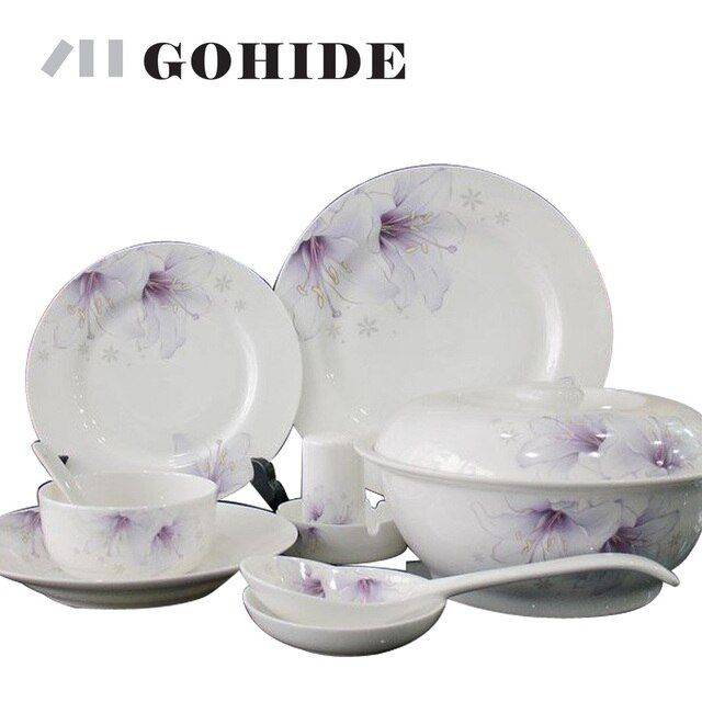 GUH Luxury arts tableware ceramic avowedly 56pcs/set quality china dinner set square full dinnerare set in