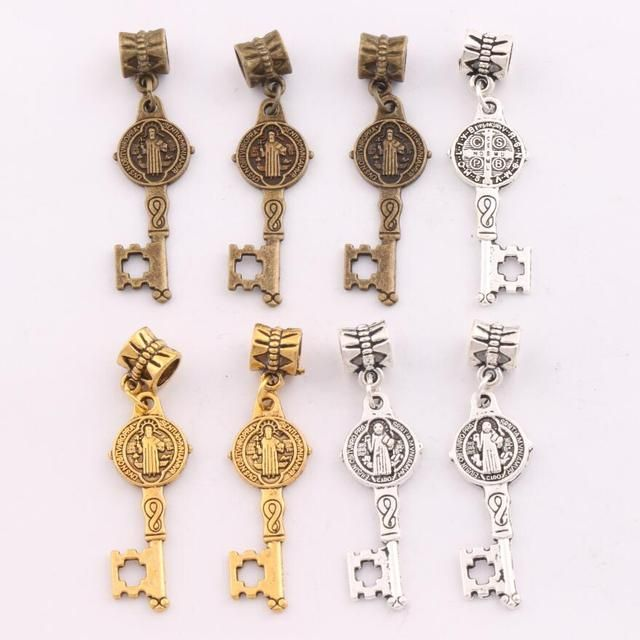 Saint Benedict Medal Cross Key Charm Beads Fit European Bracelets Jewelry DIY B1640 12.5x43mm 11pcs Antique Silver/Gold/Bronze