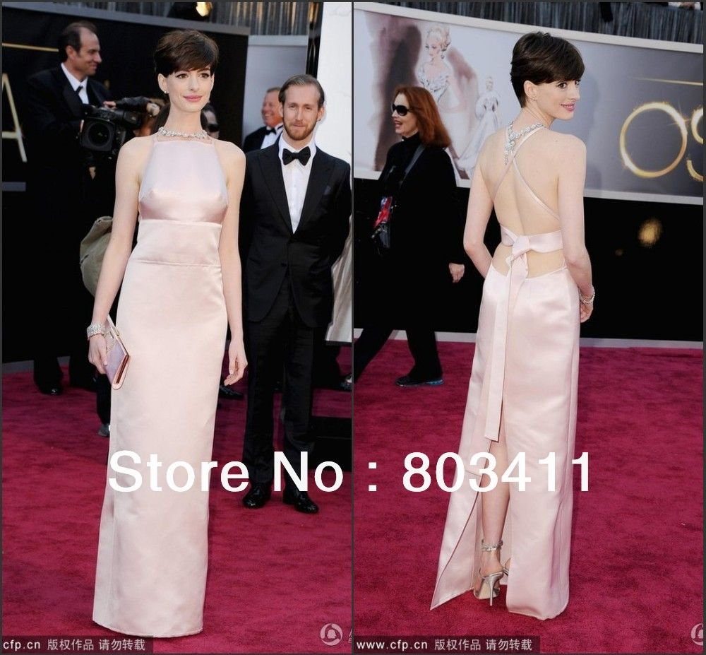 Freeshipping New Arrival Custom-made Anne Hathaway 85th Oscar Awards Celebrity Dress