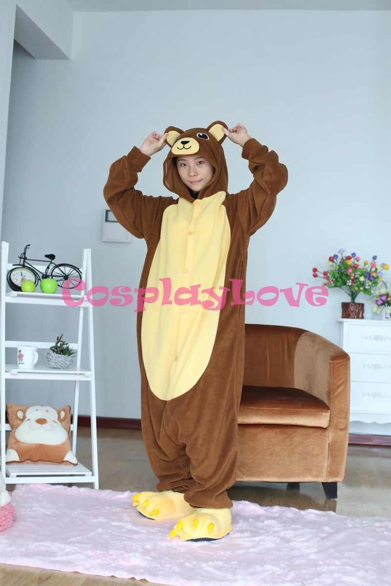 Yellow Belly Brown Bear Pajamas Animal Cosplay Costume Coral Women Men Kid Adult Pajamas Onesies Cartoon Sleepwear Sleepsuit