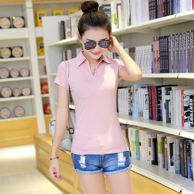 womens tops fashion 2015,women's short sleeve slim shirt(embroidery brand logo) casual shirts women cotton tee tops shirts Free