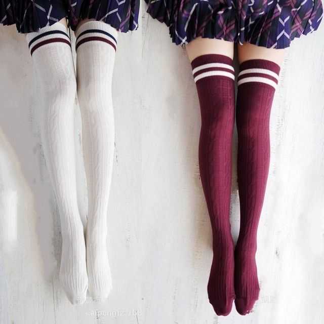 3 Pairs/Lot Hot Cotton Thigh Highs Socks Women Plus Size Over Knee Socks Long Leg Warmers meias Black Striped hose Wholesale