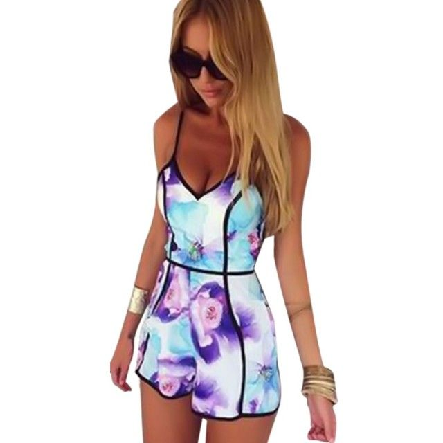 Women's Summer Chiffon Jumpsuit Shorts Sexy Women Overalls Fashion Casual V-neck Print Playsuits