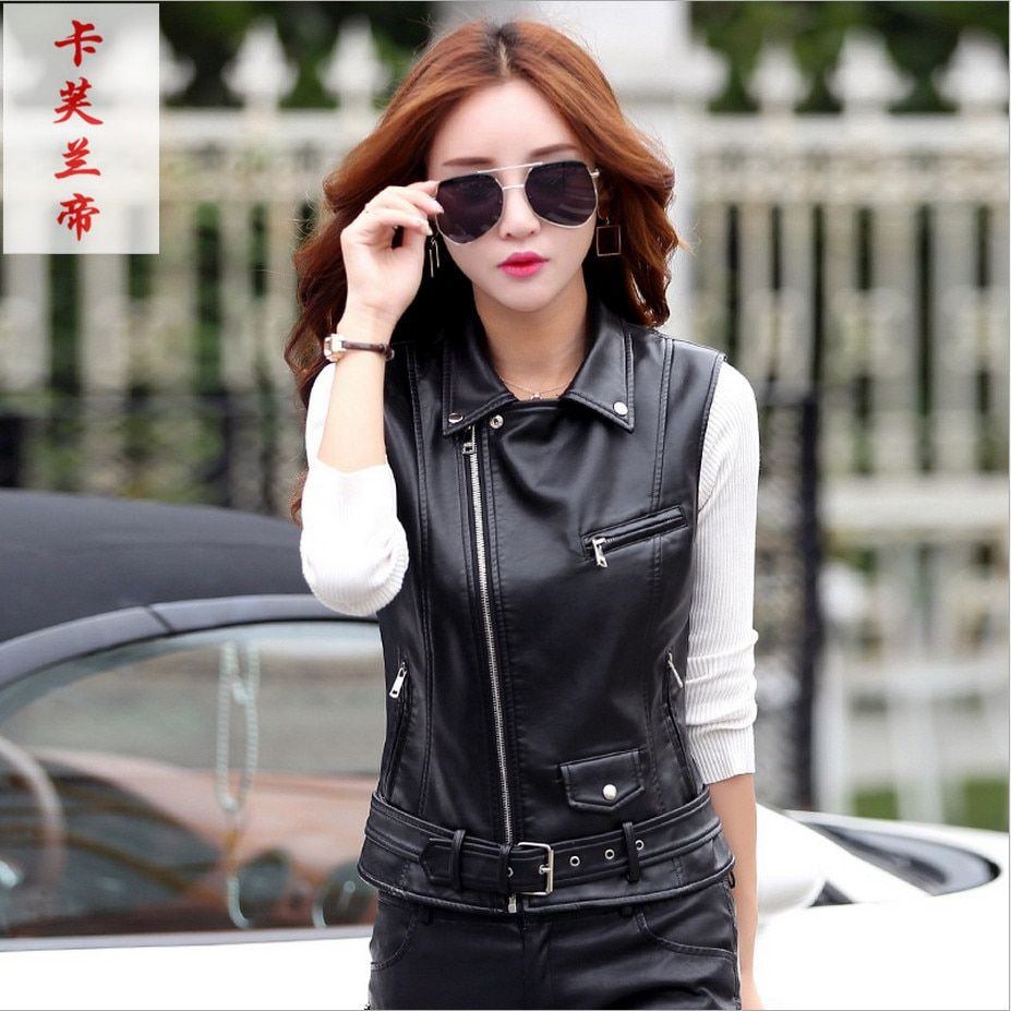 Women's Leather Vest Motorcycle PU Leather Female Vest Fashion Sleeveless Jacket Plus Size Turn Collar Pockets Waistcoat Ladies
