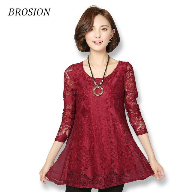 Women Lace Blouse 2016 New Style Ladies Plus Size Elegant Loose Lace Shirt Long Sleeve O-Neck Hollow-out  Female Tops M-4XL