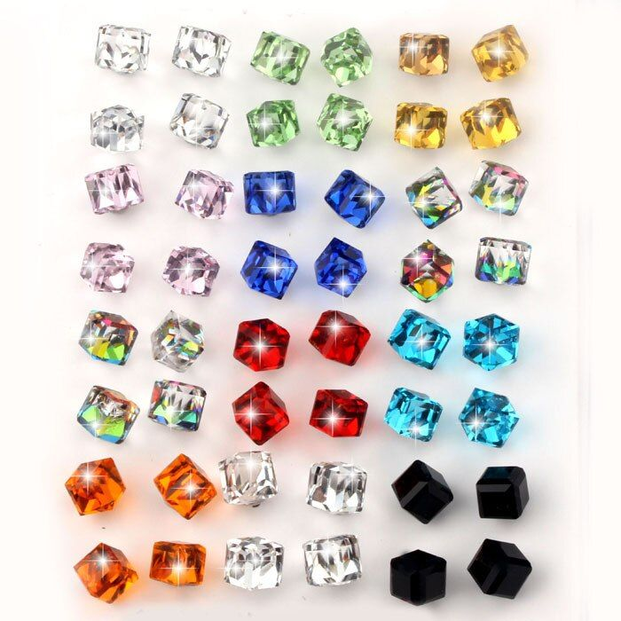 VIVILADY 24pairs/lot Fashion Crystal Stud Earrings Women Clear Red Blue Black Green CZ Cube Stone Jewelry Gift Wholesales Price