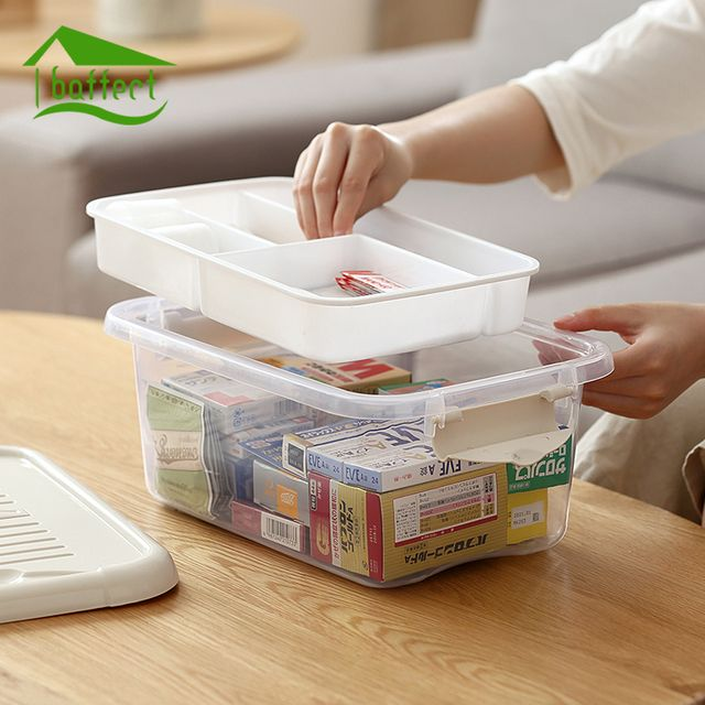 Home First Aid Kit Plastic Medical Storage Boxes Medicine Container Drug Bottle Save Space 2 Layers Multi Grid Emergency Kits
