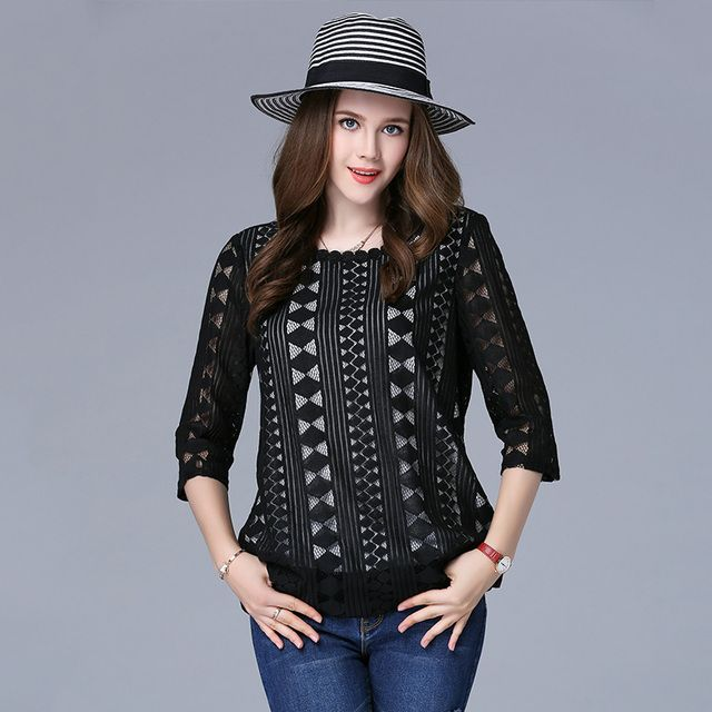 XL-5XL Fashion women hollow lace T-shirts black three quarters sleeves spring autumn women's lace tops plus size
