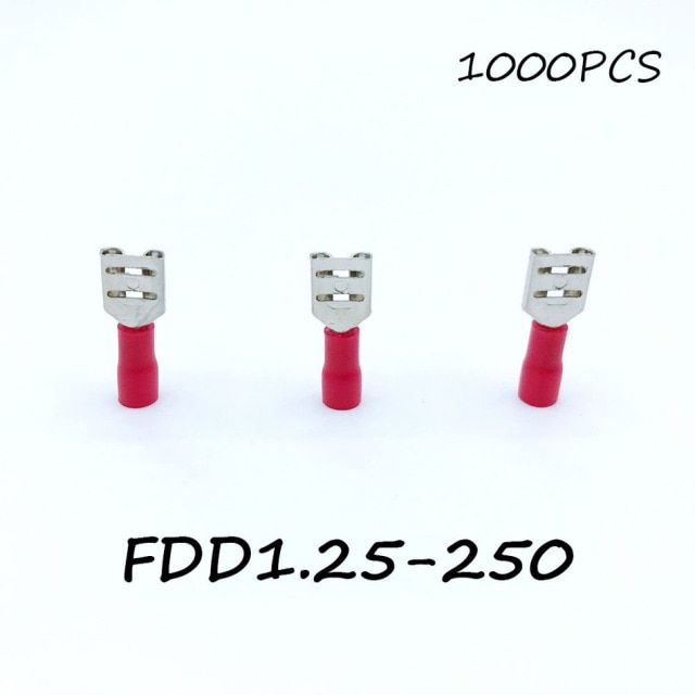 Insulated Female Disconnector FDD1.25-250 1000PCS/Pack Red Spade Quick Electrical Connector Crimp Wire Terminal AWG Terminator