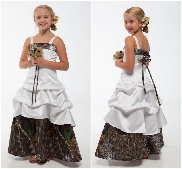 Camo Flower Girl Dresses for Weddings 2017 Bateau Spaghetti Floor Length Tiers A Line Cheap Little Girls Pageant Gown F204