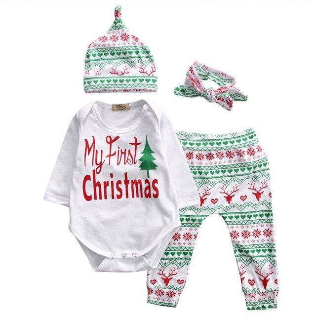 Xmas Baby Kids Girls Boys Rompers Long Sleeve Tree Romper Top+Casual Deer Pant And Hat Headband 4PSCS Christmas Clothes