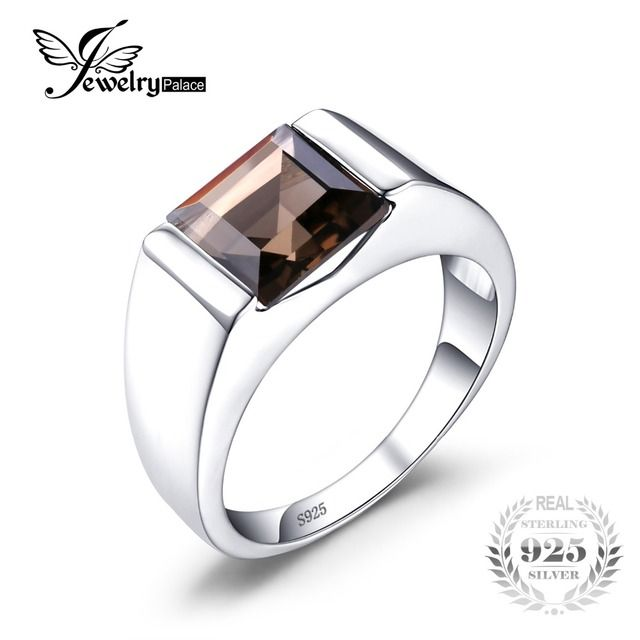JewelryPalace Men's Square 2.2ct Genuine Smoky Quartz Wedding Ring Genuine  925 Sterling Silver 2016 New Fashion Fine Jewelry