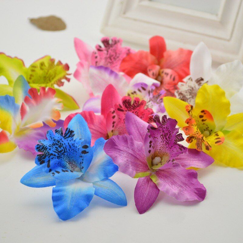 5pcs cheap Artificial Flower for home Silk Butterfly Orchid Wedding Decoration Bride Bouquet Wrist Cymbidium simulation Flowers