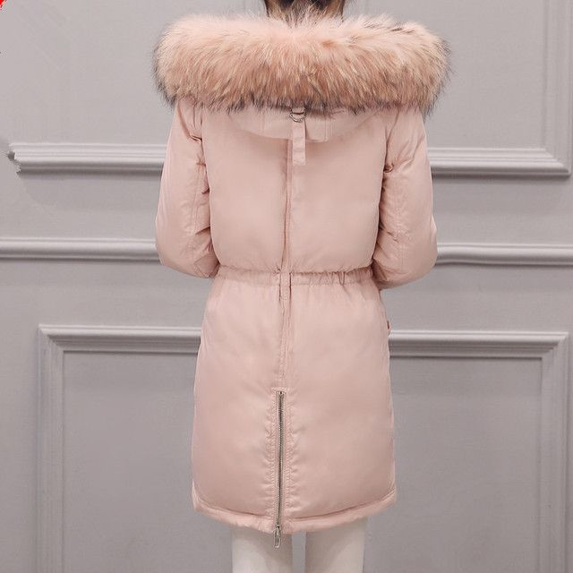 Women's Winter Duck Down Coat Real Raccon dog Fur Collar 2016 Parkas Fashion Female Pink Down Jacket Overcoat hood X-Long Design