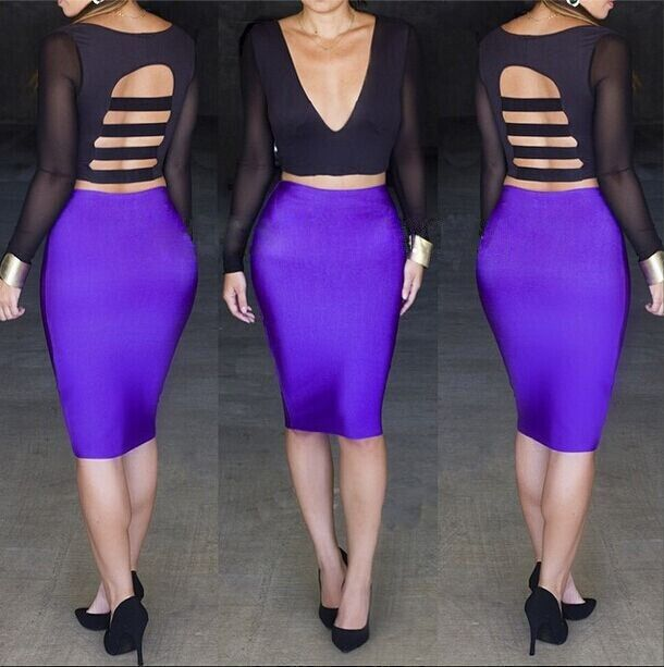 Hot Sale Sexy Crop Tops And High Waist Skirts Women's Sets with long sleeve Sexy Club Deep Plunging Bandage Bodycon Party Dress