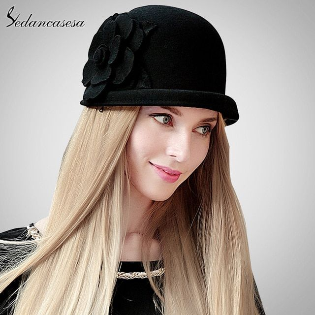 Cloche hat female winter elegant wool felt hats for women flower fedora hat high quality unique Feminino bucket caps FW132001