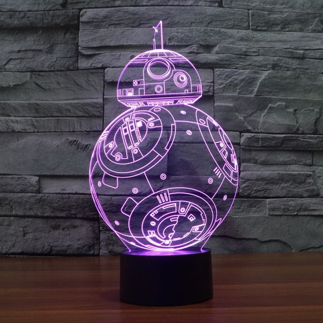 Cute Star Wars Lava Lamp Force Awaken BB-8 Droid 7 Color Changing Light Night Led Lamp Acrylic 3d Light Decorative Desk Lamps