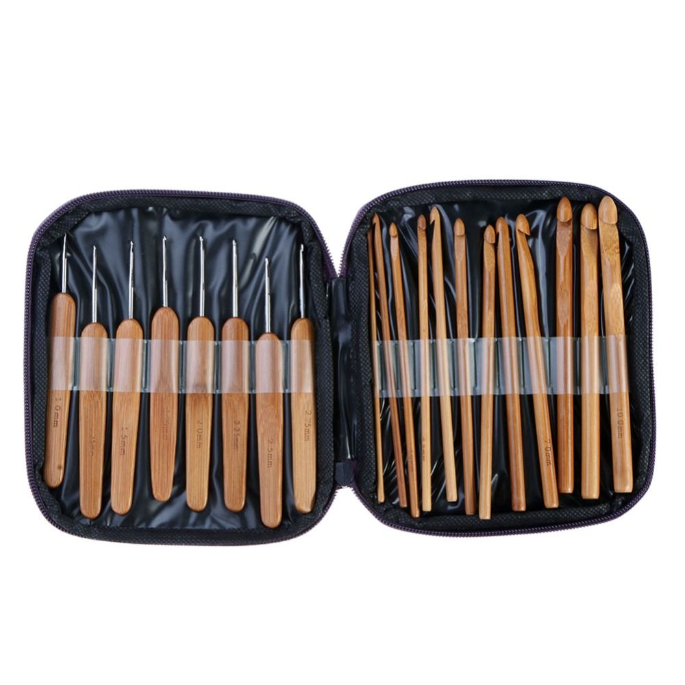 20pcs Bamboo Crochet Hooks Knitting Needles Set with Storage Bag Weave Craft Yarn Sewing Tools Sewing Accessories