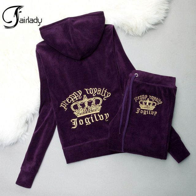 Clearance Price High quality Golden Velvet Hoodies Suit Women's Fashion Embroidered Tracksuit Sweatshirts Set Casual Sportswear