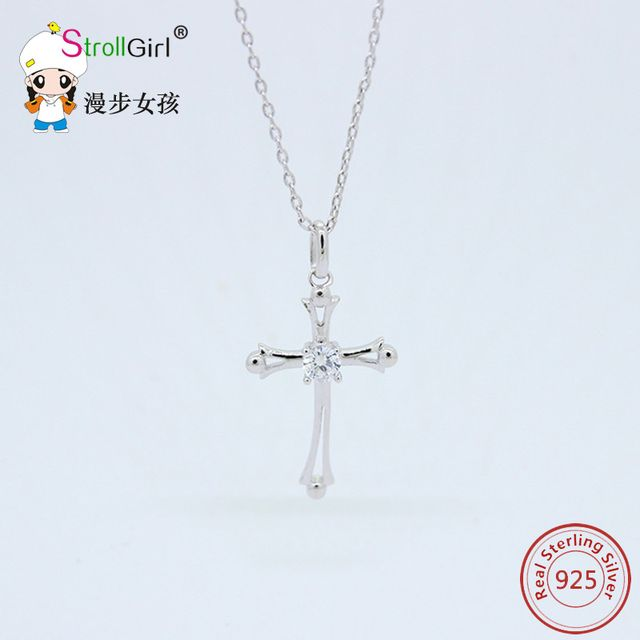 strollgirl Authentic 925 Sterling Silver Cross Necklace Chain Necklaces Pendants Women Gift for gifts Sterling-Silver-Jewelry