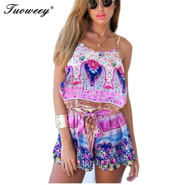 beach back open summer style women 2017 Summer Clothing Set Sleeveless floral shirt + shorts 2 PCS Set Clothes ladies Suits 1627