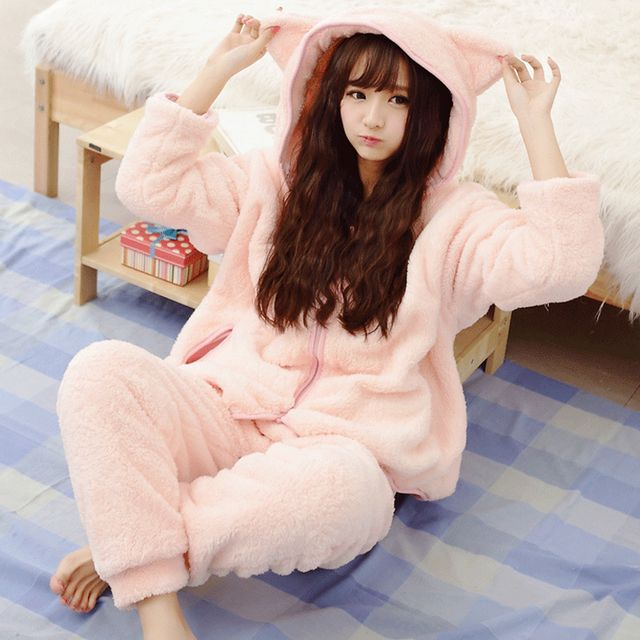 2016 Winter Warm Women Pajamas Fluffy Fleece Onesie Pyjamas Pink Female Sleepwear Hooded Pajama Set Women Home Suit 50