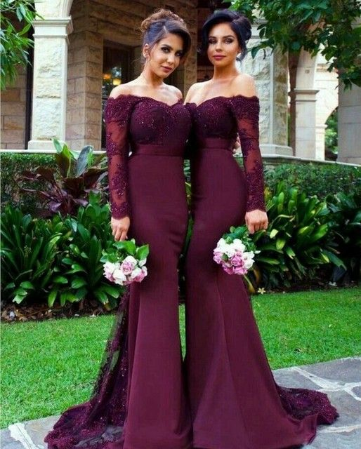 Sexy Long Sleeves Lace Applique Crystal Beaded Mermaid Satin Hunter/Ivory/Navy Blue/Red/Silver/Burgundy Lace Bridesmaid Dresses