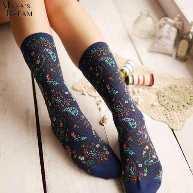 Mara's Dream 20pairs/lot vintage thick ankle Socks high quality Literature and art National wind Ham flower's heap stock hosiery