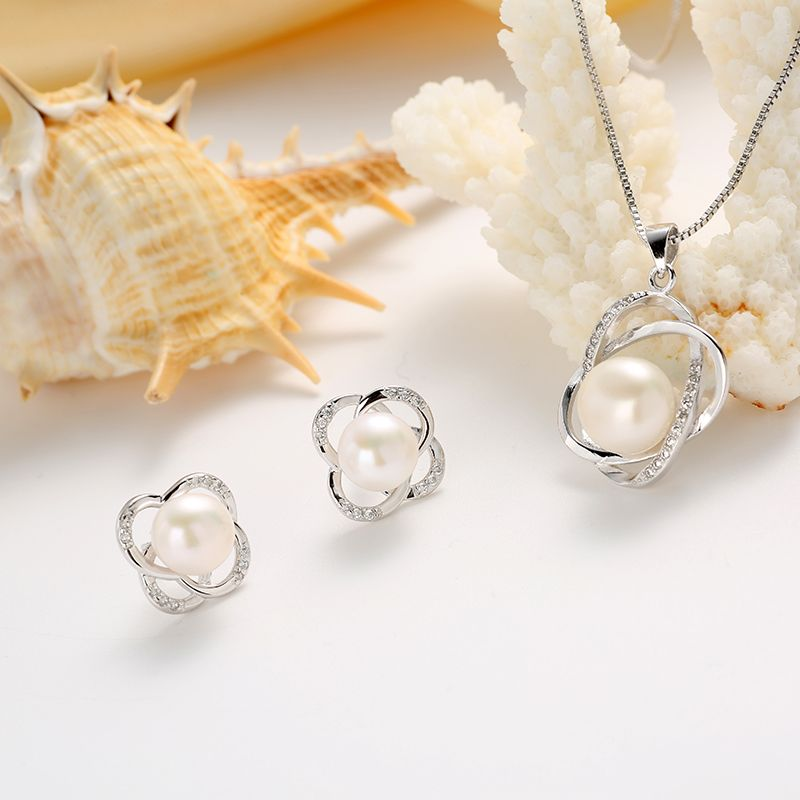 HENGSHENG Classic Natural Pearl Jewelry Sets 2019 Trendy Pearl Pendants Earrings Sets Women Wedding Jewelry Set