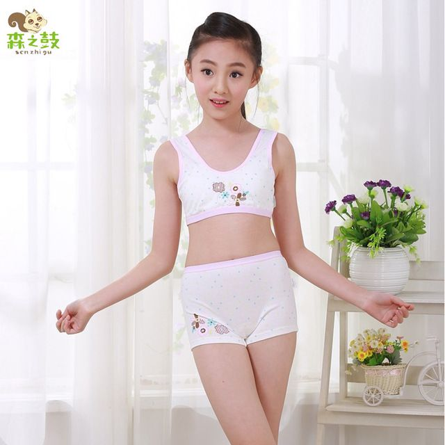 New Girl Cotton Underwear Set Training Bras Vest and Boxers Girls underwear sets Undies Puberty Teenagers Student Sport Set