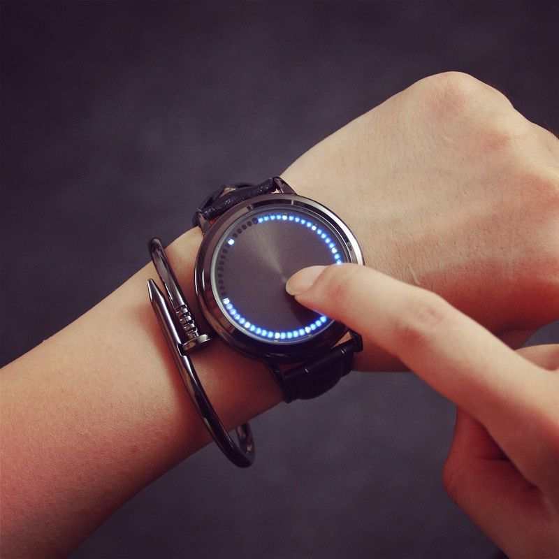Creative personality minimalist leather normal LED watch women couple watch men electronics casual watches students clock hours