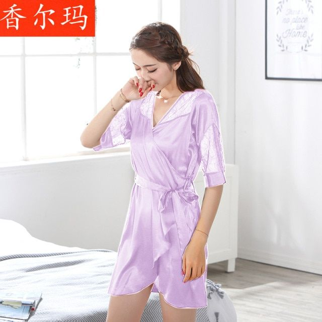 women long silk robe Transparent Lace Nightgown Sexy Dress Women Lingerie Women Sexy Robes Sleepwear Nightgown free shipping
