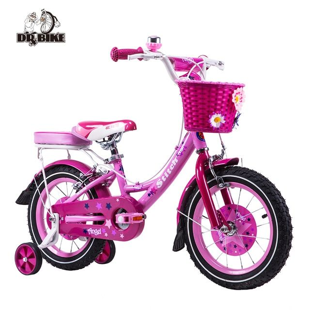 Dr Bike 12 inch Stitch Mermaid Pink Girls Bike Children Bicycle with Basket and Rear Shelf for Three to Six Aged Girl