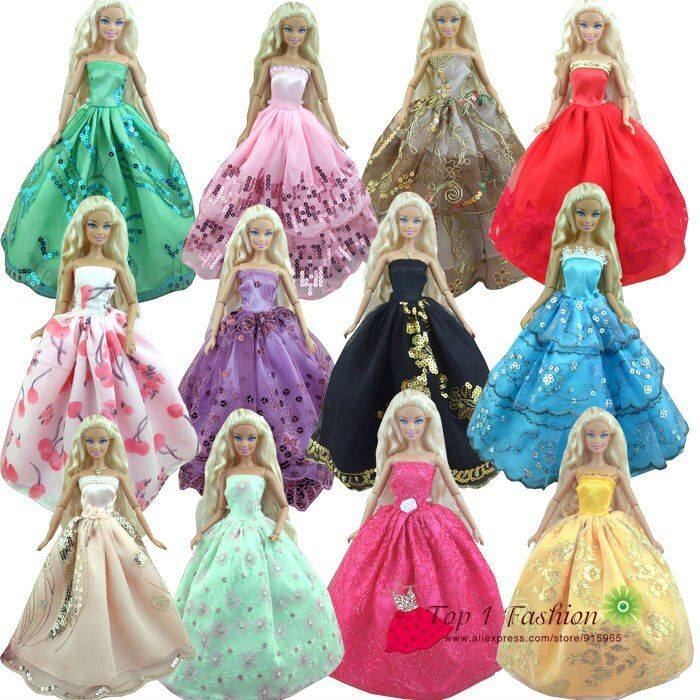 Baby girl kids birthday gift 30items=10dress+10 shoes+10accessories Doll' s Wedding Dress Clothes Gown dress For Barbie doll